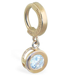 TummyToys® Solid Yellow Gold CZ Dangle