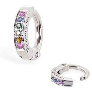 TummyToys® Silver Sleeper Paved With Pastel Rainbow CZ Belly Ring. Shop Belly Rings.