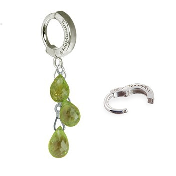 TummyToys® Natural Peridot Dangle on Pure Platinum Clasp. Belly Rings Shop.