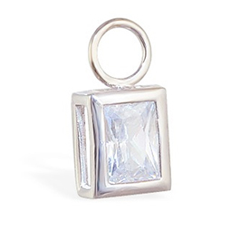 TummyToys® Bezel Set Emerald Cut Cubic Zirconia Charm