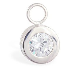 TummyToys® Bezel Set CZ Circle Swinger Charm