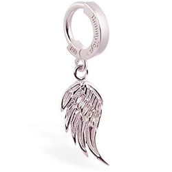 TummyToys® Silver Femme Metale's Angel Wing Navel Ring
