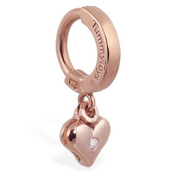 TummyToys® 14K Rose Gold Diamond Heart Navel Ring. Belly Rings Australia.