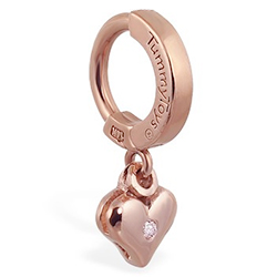 TummyToys® 14K Rose Gold Diamond Heart Navel Ring