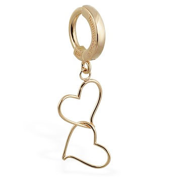 TummyToys® Solid Yellow Gold Hand Made Double Heart Belly Ring. Designer Navel Rings.