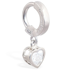 TummyToys® White Gold Cubic Zirconia Heart Belly Ring
