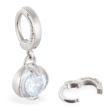 TummyToys® Bezel Set Round Cubic Zirconia Surgical Steel Clasp. Belly Bars Australia.