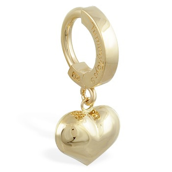 TummyToys® 14K Yellow Gold Puffed Heart Navel Ring. Navel Rings Australia.