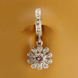 TummyToys® Fancy Flower Cubic Zirconia Belly Ring