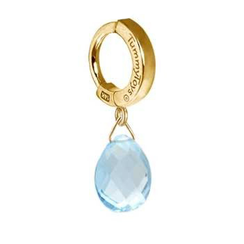TummyToys® Solid 14K Yellow Gold Blue Topaz Drop. Belly Rings Australia.
