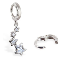 TummyToys® Silver CZ Shooting Stars Navel Jewellery