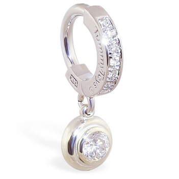 TummyToys® White Gold Belly Ring with 1/4 Ct Diamond Pendant. Belly Rings Australia.