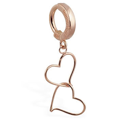 TummyToys® Solid Rose Gold Hand Made Double Heart Belly Ring