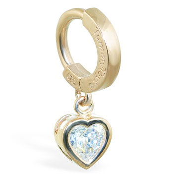 TummyToys® Yellow Gold Cubic Zirconia Heart Belly Ring. Belly Rings Australia.