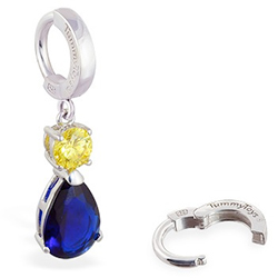 TummyToys® Sapphire and Citrine Coloured CZ Drop