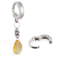 TummyToys® Citrine and Silver Belly Ring